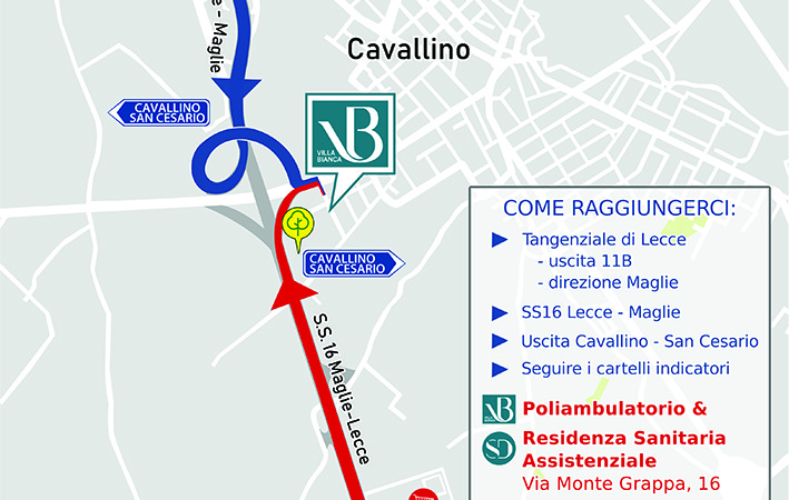 Nuovo Poliambulatorio Villa Bianca: come raggiungere il Centro